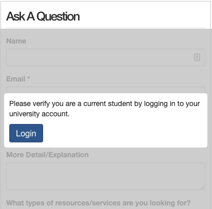 LibAuth login prompt on a question form