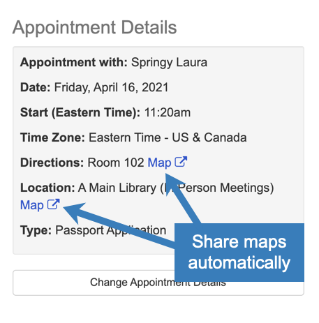 Share appointment maps automatically