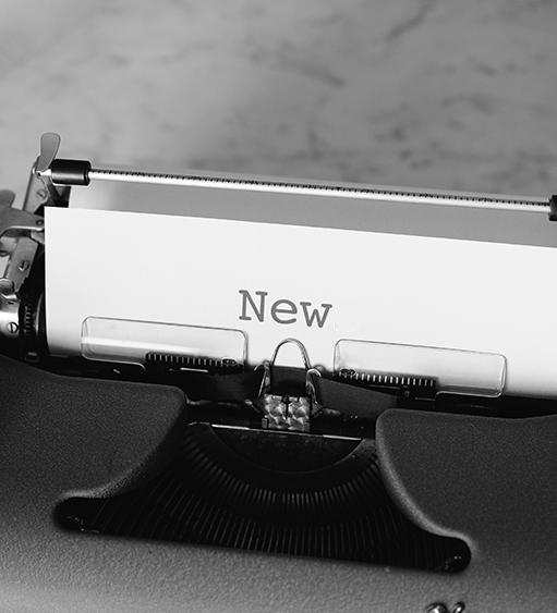black and white, typewriter, text: new