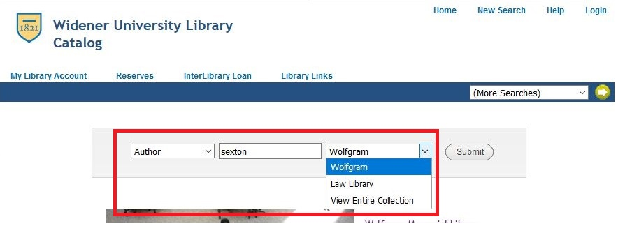 library catalog page, showing an author search as described above