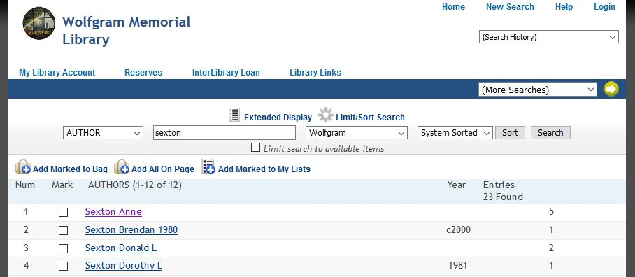 library catalog results page, showing the list of titles by the author searched