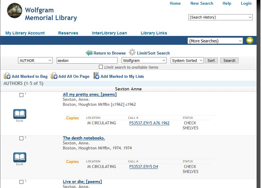 library catalog, showing the list of titles as described above.