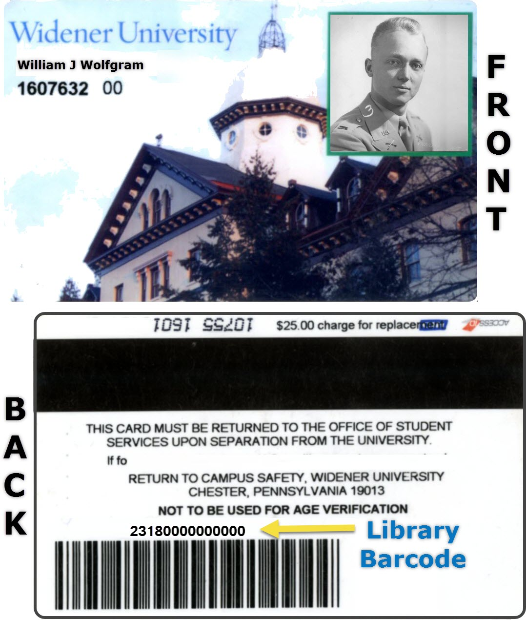 sample Widener ID Card showing the 14 digit barcode on the back of the card.