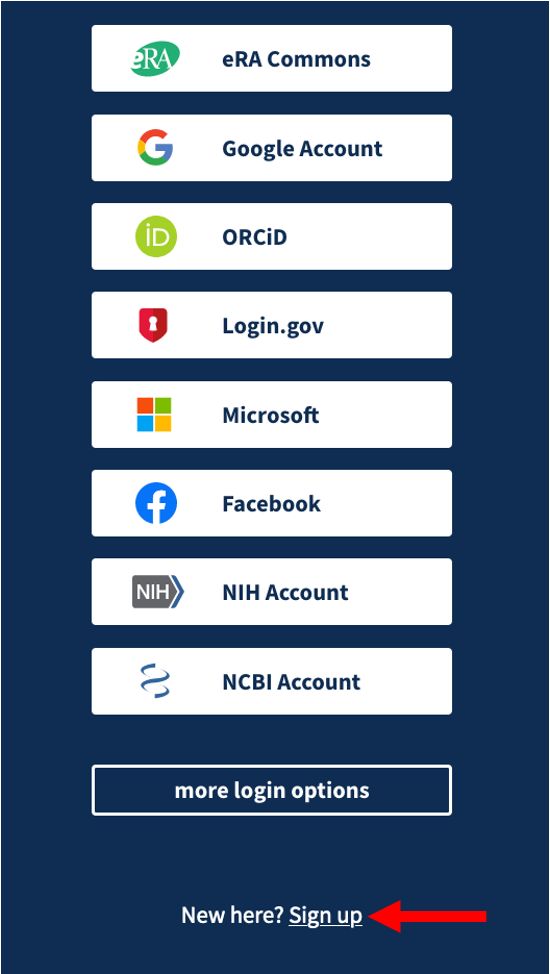NCBI login options
