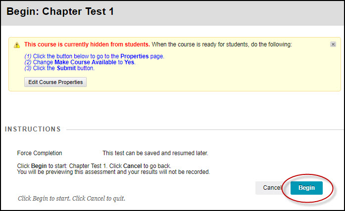Screen shot of step 8 : to begin test in Blackboard