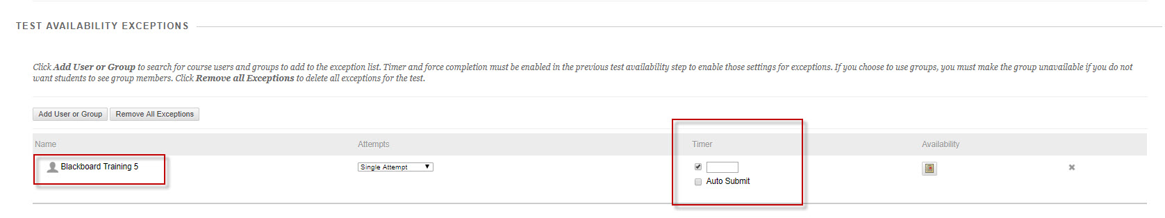 "screen shot of ""test availability exceptions"""
