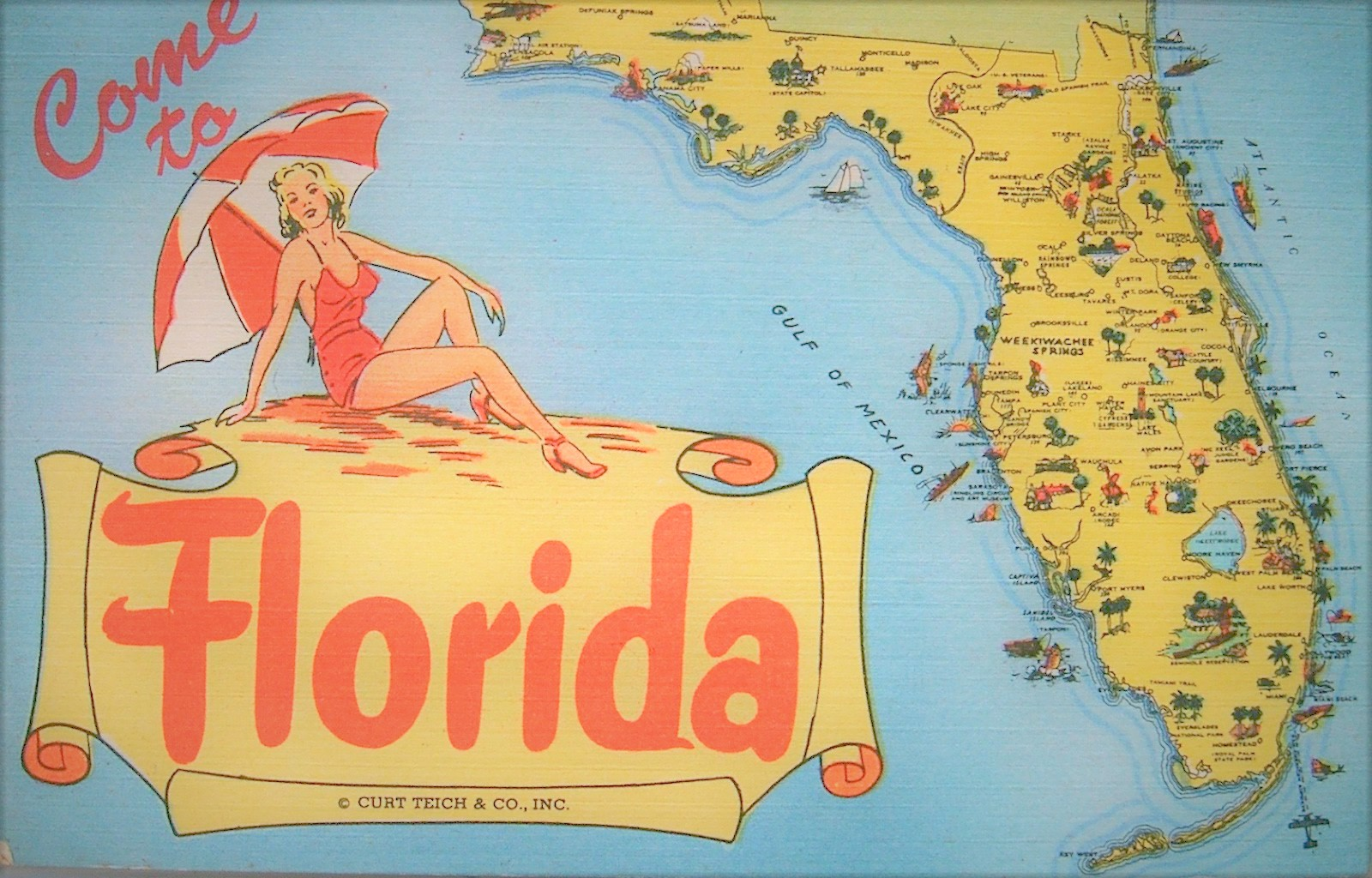 Come to Florida vintage tourist map