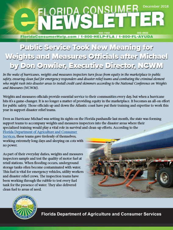 cover of Florida Consumer e-Newsletter December 2018