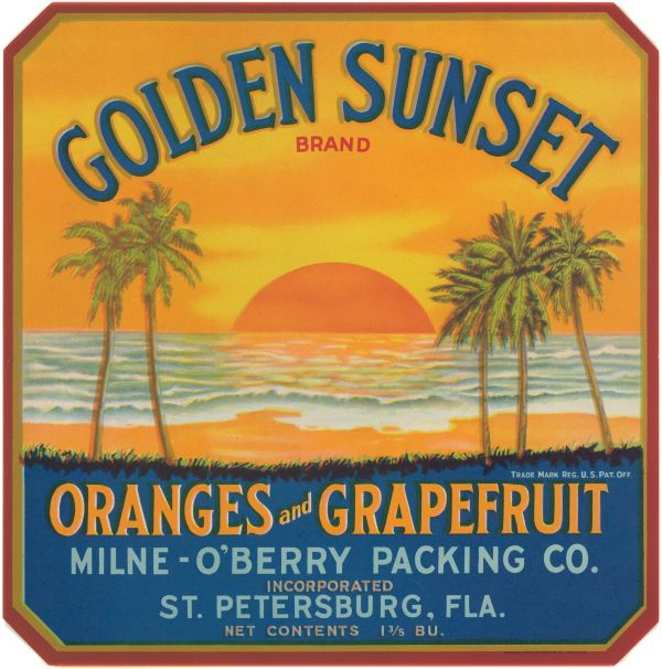 Golden Sunset Brand oranges and grapefruits label
