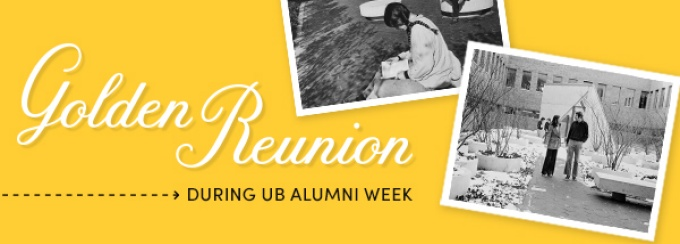 """Golden Reunion Graphic with two photos.  One photo shows two people standing in the O""""brian Hall courtyard.  The other photo shows a girl kneeling and reading a book."""