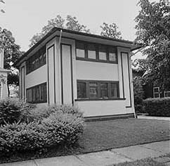 Exterior view of the gardener's cottage of the Martin House Complex, 1981