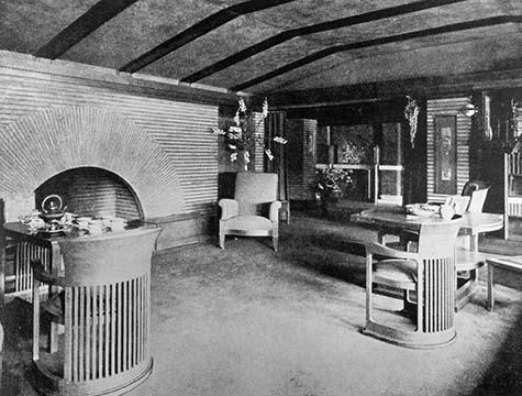 Martin House reception room with sunburst fireplace, 1907