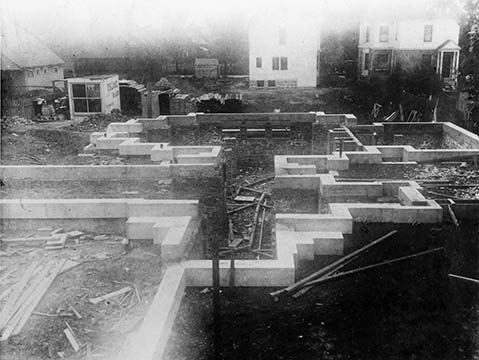 Martin House complex foundation under construction July 31, 1904
