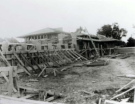 Exterior view of the pergola and conservatory under construction, October 16, 1904