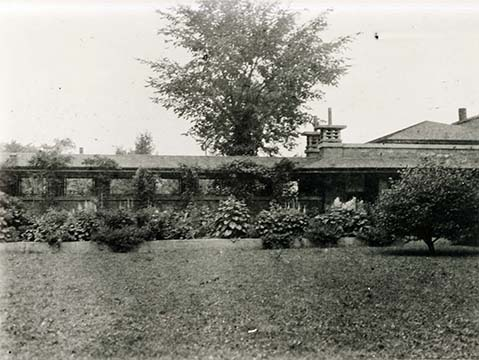 Exterior view of the Martin House pergola and conservatory