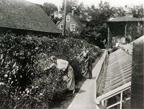 Isabelle R. Martin and Cora Herrick in the Martin House garden near the greenhouse