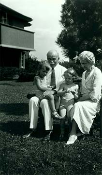 Darwin D. and Isabelle R. Martin outside Grayclif with their grandchildren Margaret and Darwin M. Foster