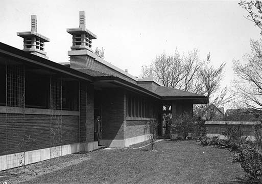 Exterior view of the Martin House pergola and conservatory, 1908