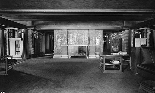 Martin House living room with wisteria fireplace, 1908
