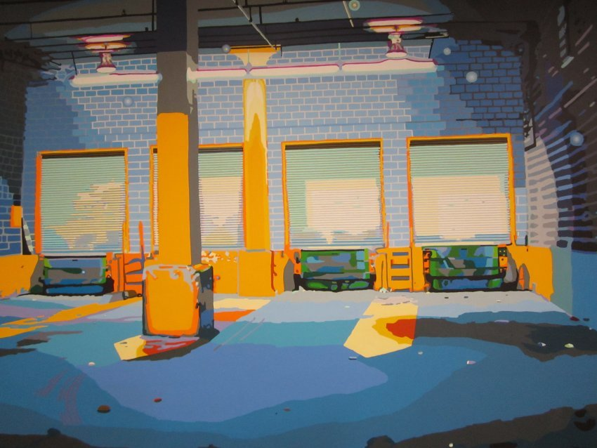 "Aron Namenwirth, Loading Dock, acrylic paint on canvas, 108 1/4"" x 144 1/8"", 2001, Gift of the artist"