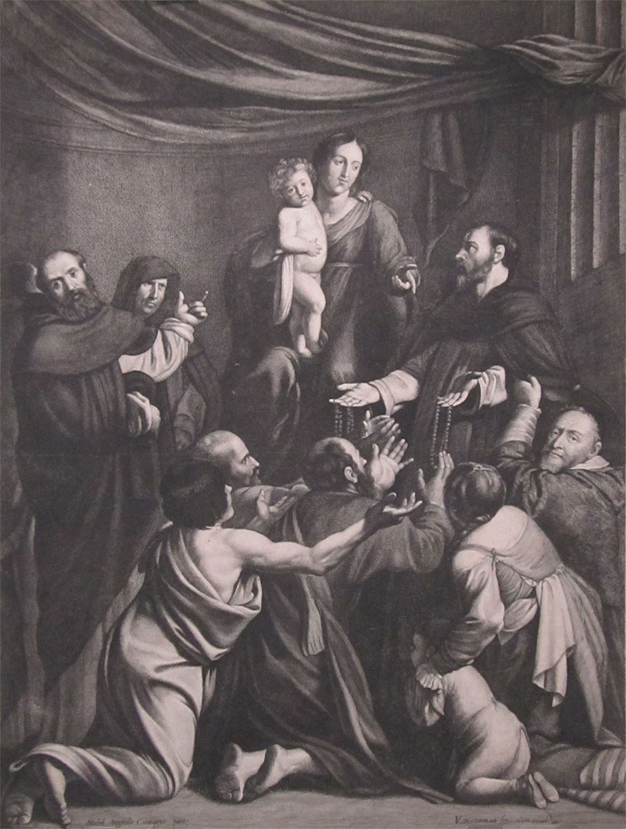 "Lucas Vorsterman the Elder Madonna of the Rosary (after Caravaggio) engraving 22"" H x 16.5"" W early 17th century 2013.00.0009 Image courtesy of the Walsh Gallery"