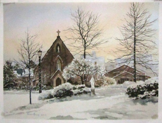 Image of the Immaculate Conception Seminary at Seton Hall with a snow-covered ground