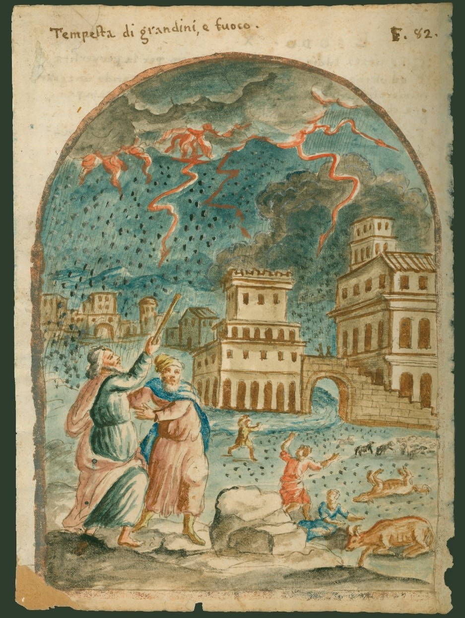 """Hailstorm Plague"", Page from Old Testament Bible manuscript, hand painted watercolor, Northern Italian, c. 1650, Herbert Kraft Collection – MSS 0029, Courtesy of Archives and Special Collections"