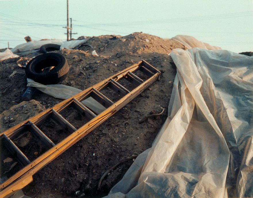 "Ladder and Plastic Tarp on Dioxin Pile, 8x10"" Color Polaroid, 1995"