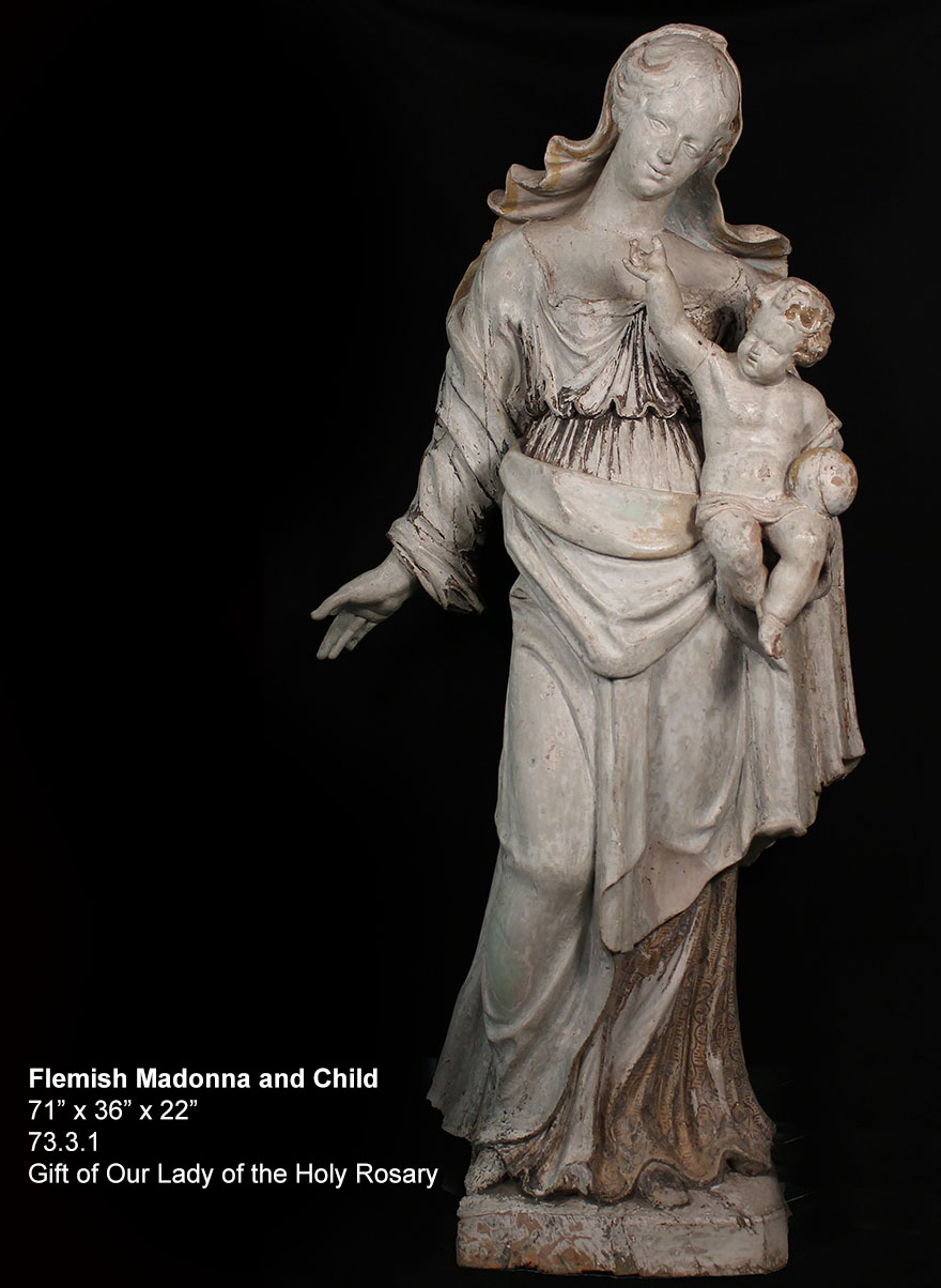 Flemish Madonna and Child Statue, painted wood statue, 71 inches tall by 36 inches wide by 22 inches deep, 17th century, Gift of Our Lady of the Holy Rosary – Summit, New Jersey, 73.3.1