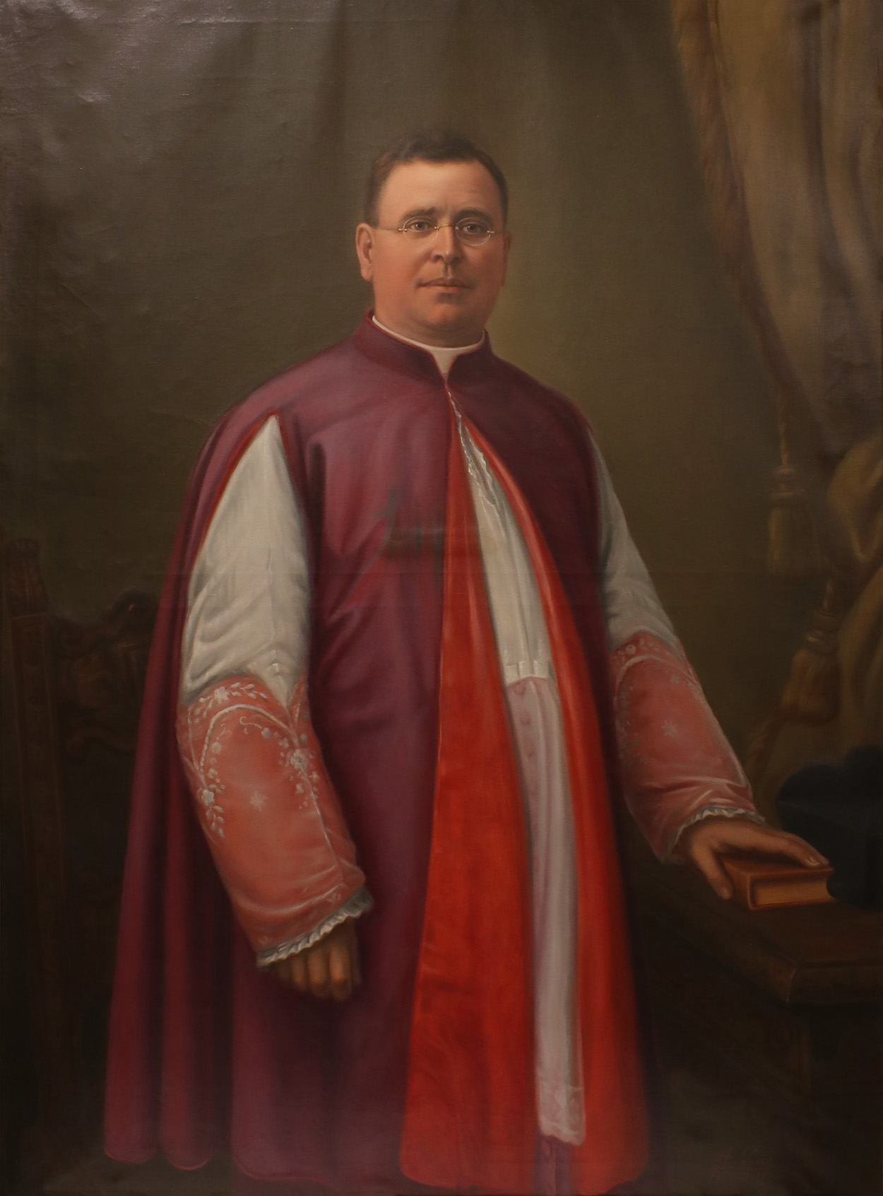 A. Dies, Portrait of Monsignor John A. Stafford, oil on canvas, 58 7/16 inches by 43 1/2 inches, 1904, 2020.16.0001, Seton Hall University Permanent Collection