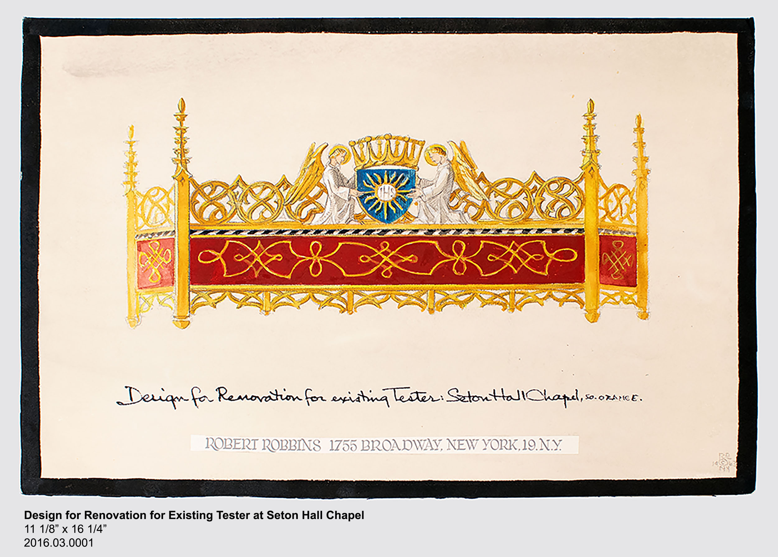 Design for Renovation for Existing Tester at Seton Hall Chapel, 11 1/8 inches tall by 16 1/4 inches wide, 2016.03.0001