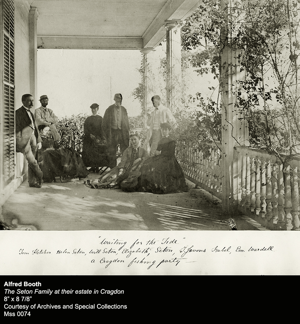 Alfred Booth, The Seton Family at their estate in Cragdon, Reproduction of an original, albumen silver print, 8 inches tall by 8 ⅞ inches wide, 1866 – 1867, Courtesy of Archives and Special Collections, Mss 0074