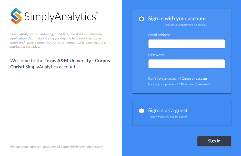 Simply Analytics login page