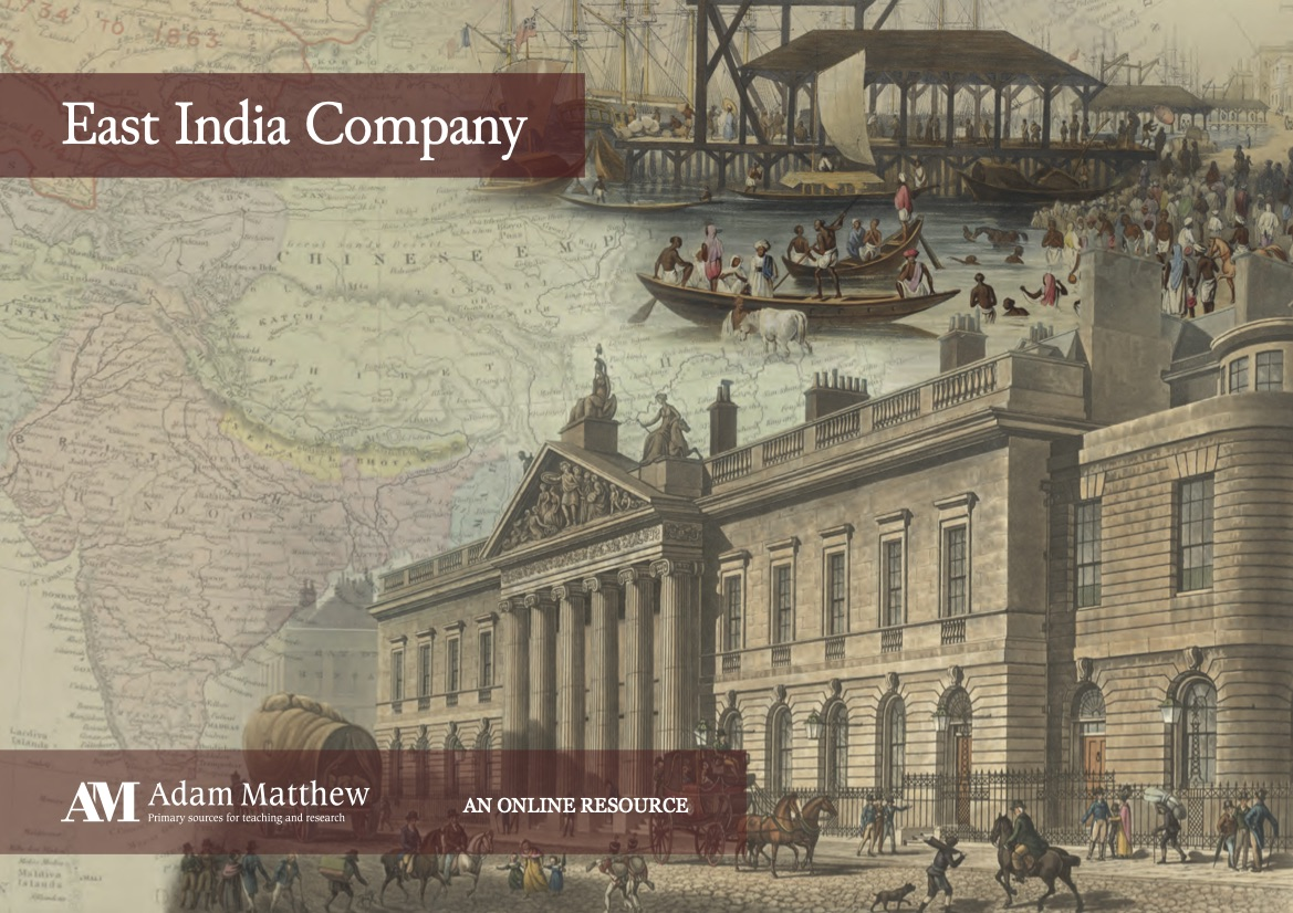 Blended old images of a map of India, harbor, and large building