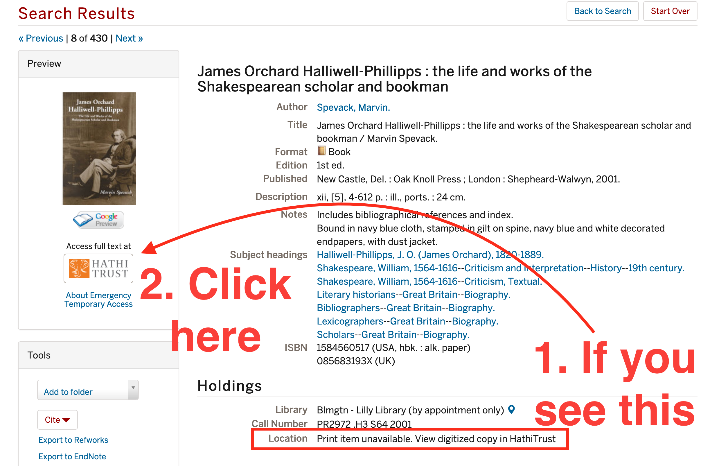 """IUCAT record with red text """"1. If you see this"""" (""""Print item unavailable"""") and """"2. Click here"""" (Hathitrust link)"""