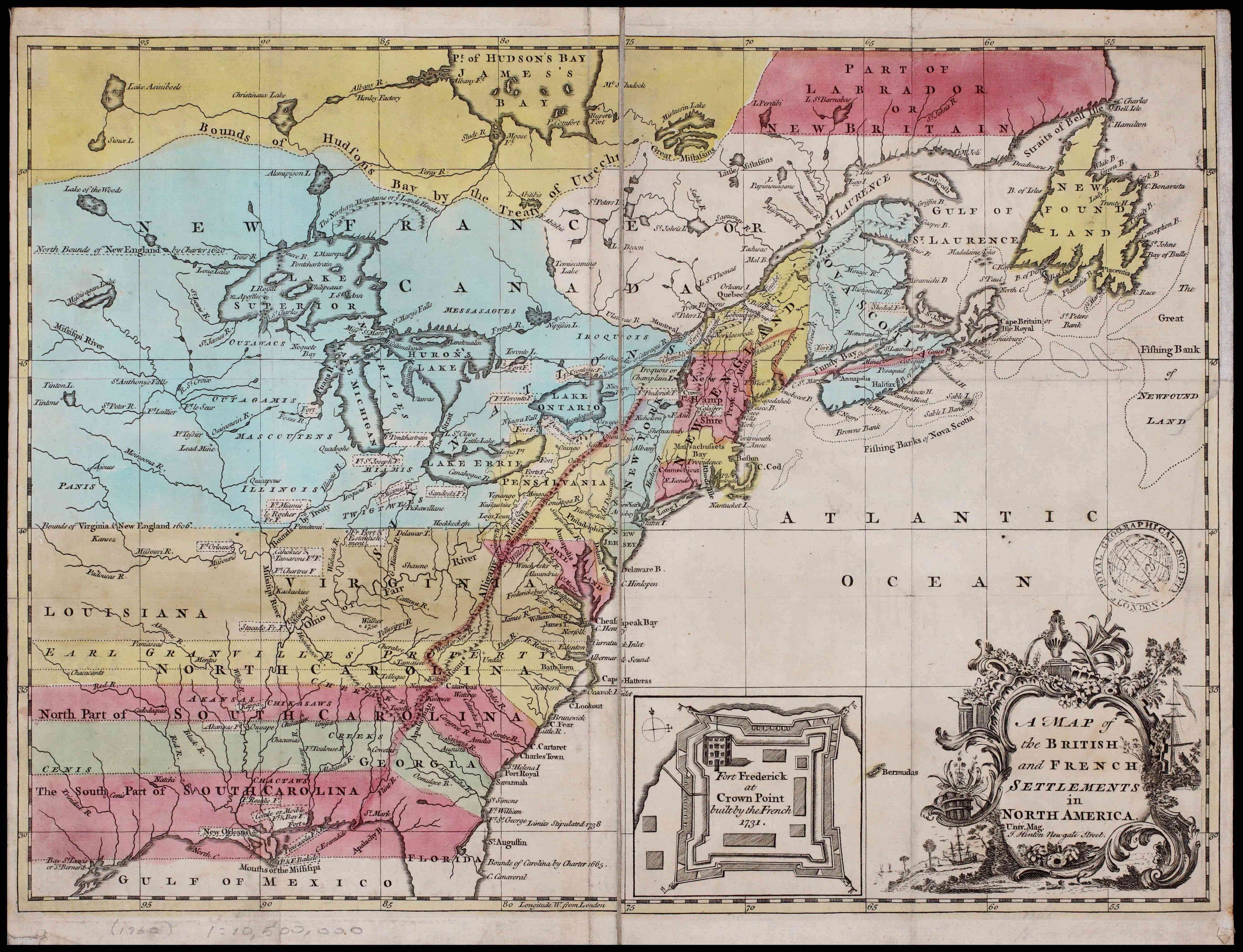 1755 map of North America with shading and erroneous labels