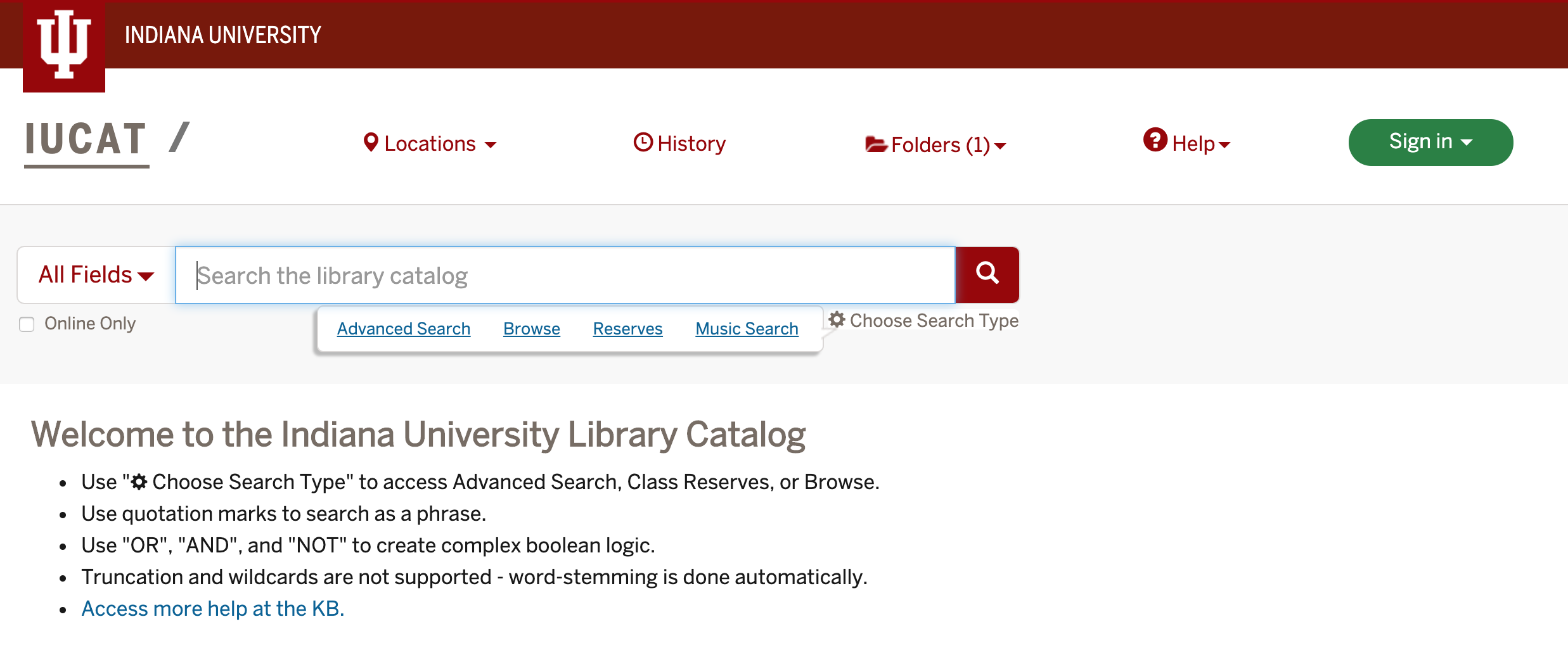IUCAT basic search page