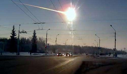 Image of the Chelyabinsk meteor event