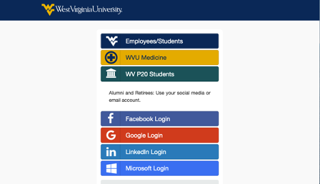 Screenshot of the homepage of the Research Repository @ WVU