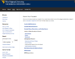 Screenshot of the WVU Research Repository submit research page.