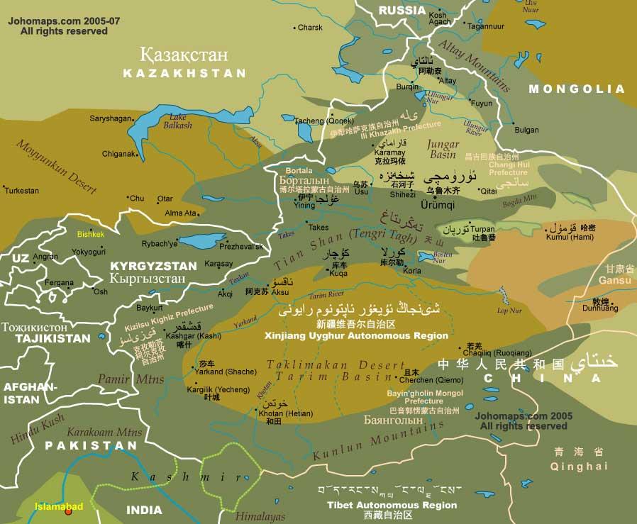 Xinjiang Uyghur Autonomous Region Map