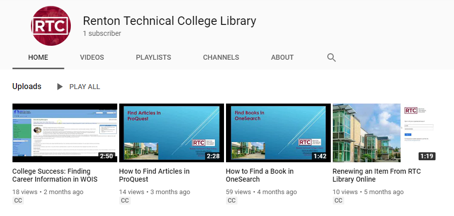 RTC Library YouTube Video Collection Screencap