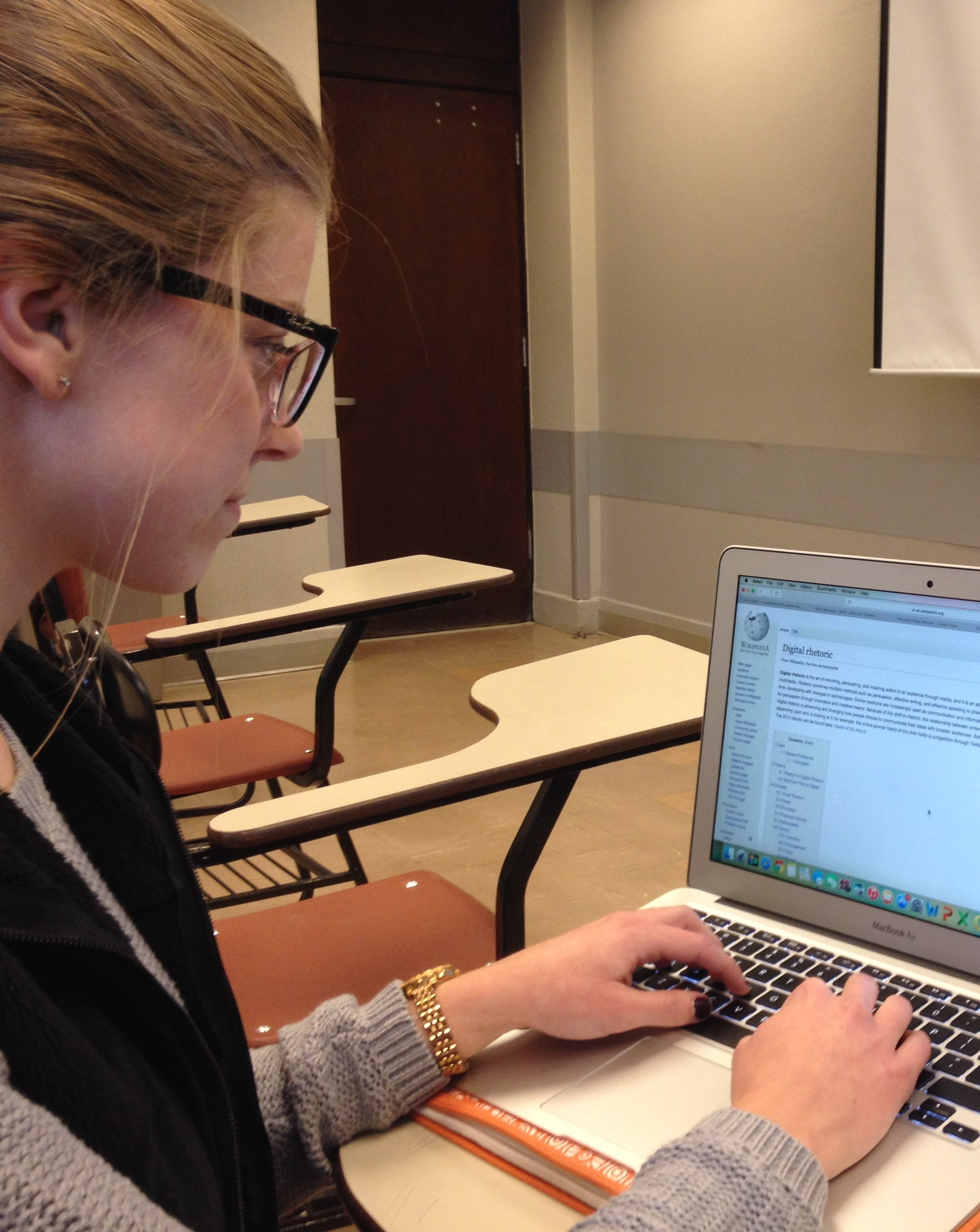 image of student doing web research