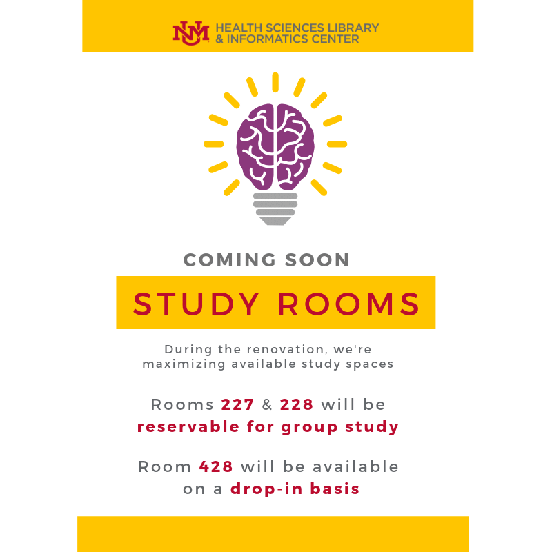 Coming Soon: Study Rooms. During the renovation, we're maximizing available study spaces. Rooms 227 & 228 will be reservable for group study. Room 428 will be available on a drop-in basis.