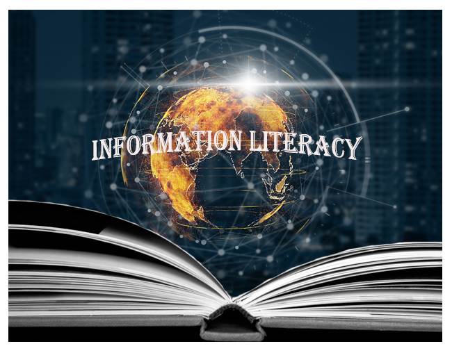 """image of a book, globe, and """"Information Literacy"""""""