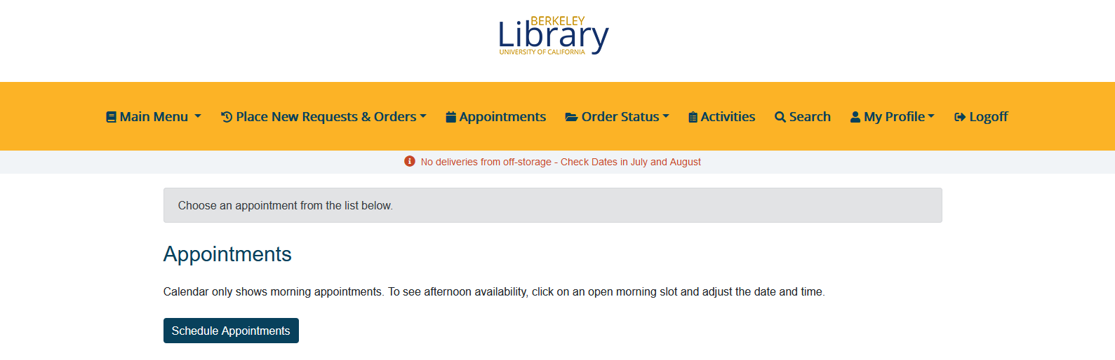 Screenshot showing appointment page in Aeon.