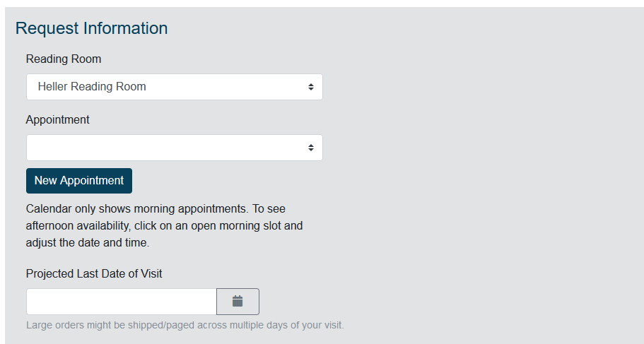 Screenshot of appointment section of Reading Room Request Form.