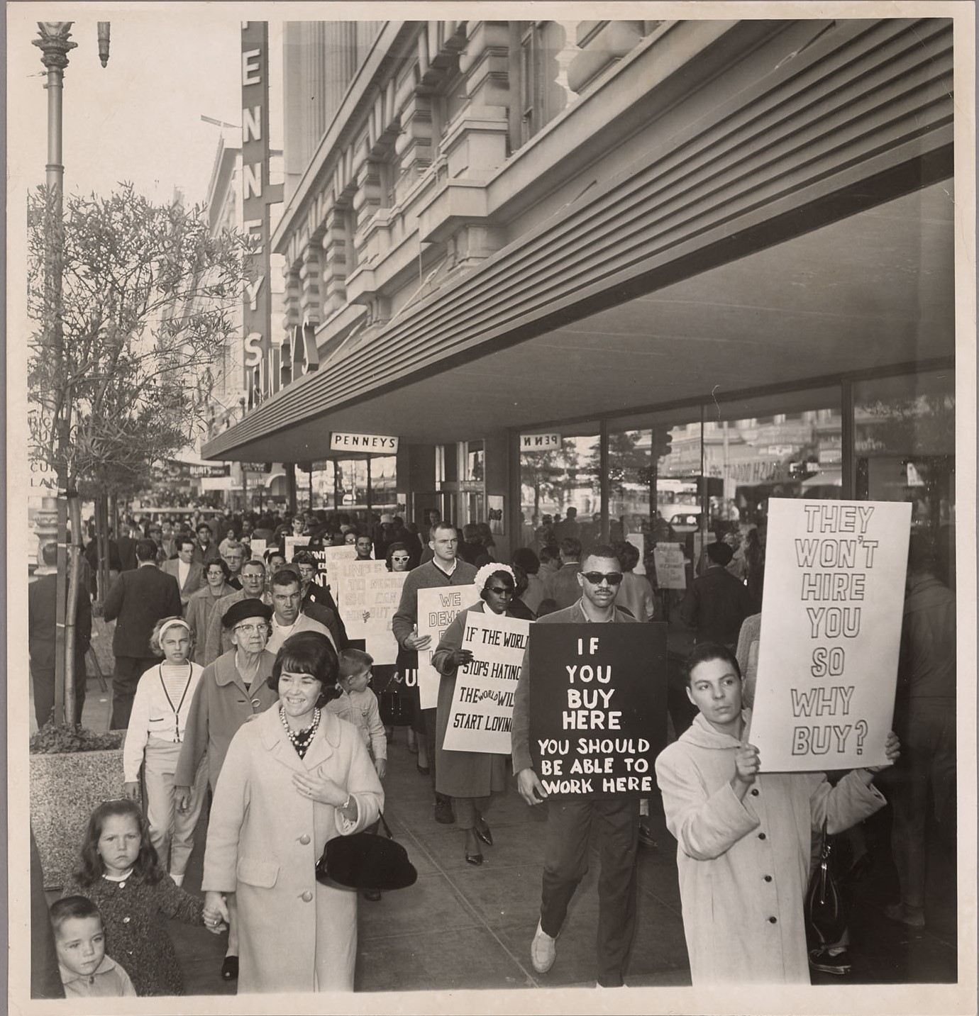 Photograph of picketers outside of J. C. Penney's