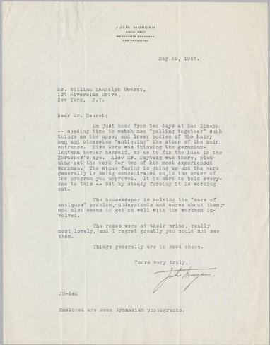 Letter from Julia Morgan to William Randolph Hearst