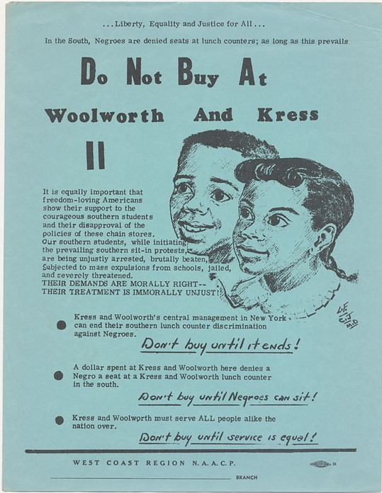 Flyer promoting boycott of Woolworth and Kress stores